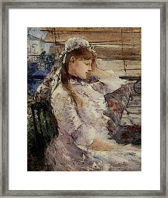 Morisot Berthe Behind The Blinds Framed Print by Berthe Morisot