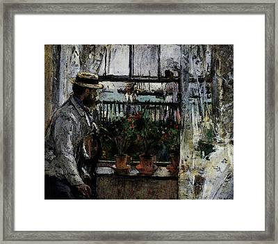 Morisot Berthe Eugene Manet On The Isle Of Wight Framed Print by Berthe Morisot