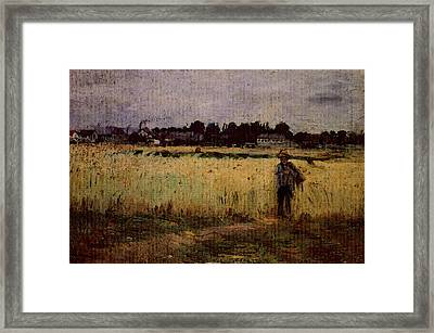 Morisot Berthe In The Wheat Fields At Gennevilliers Framed Print by Berthe Morisot