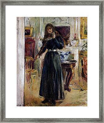Morisot Berthe Julie Playing A Violin Framed Print by Berthe Morisot