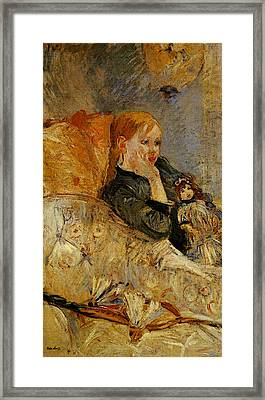 Morisot Berthe Little Girl With A Doll Framed Print by Berthe Morisot