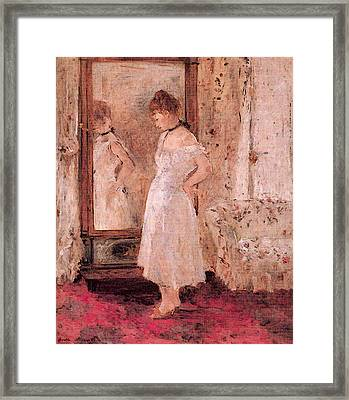 Morisot Berthe The Cheval Glass Framed Print by Berthe Morisot
