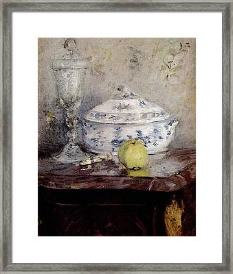 Morisot Berthe Tureen And Apple Framed Print by Berthe Morisot