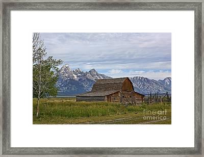 Mormon Row Barn And Grand Tetons Framed Print