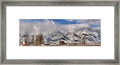 Framed Print featuring the photograph Mormon Row Early Winter Panorama by Adam Jewell