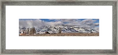 Framed Print featuring the photograph Mormon Row Extended Panorama by Adam Jewell