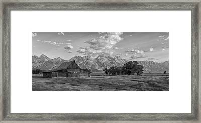 Mormon Row Farm In Black And White Framed Print by Andres Leon