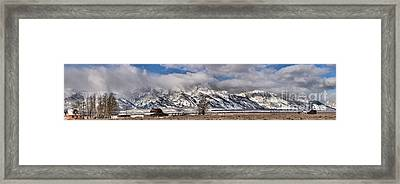Framed Print featuring the photograph Mormon Row Snowy Extended Panorama by Adam Jewell