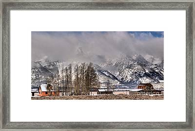 Framed Print featuring the photograph Mormon Row Winter Morning Panorama by Adam Jewell