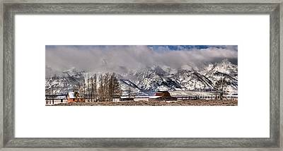 Framed Print featuring the photograph Mormon Row Winter Panorama by Adam Jewell