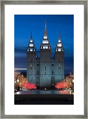 Mormon Temple Christmas Lights Framed Print by Utah Images