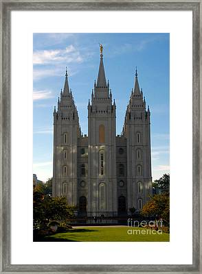 Mormon Temple Fall Framed Print