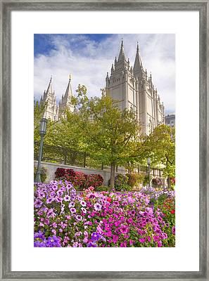 Mormon Temple Salt Lake City Framed Print by Utah Images
