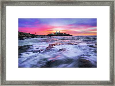 Morning At Nubble Light Framed Print by Robert Clifford