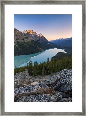 Morning At Peyto Lake Framed Print by Tomas Nevesely