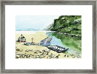 Framed Print featuring the painting Morning At Porto Novo Beach by Dora Hathazi Mendes