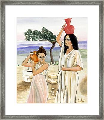 Morning At The Well Framed Print by Gloria Cigolini-DePietro