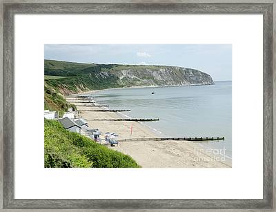Morning Bay Looking Up Swanage Bay On A Summer Morning Beach Scene Framed Print