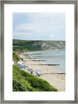 Morning Bay Pt Looking Up Swanage Bay On A Summer Morning Beach Scene Framed Print by Andy Smy