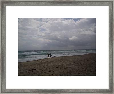 Morning Beach Walk Framed Print by Karen Thompson