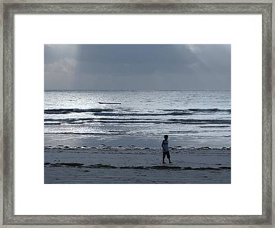 Morning Beach Walk On A Grey Day - Lone Dhow Framed Print