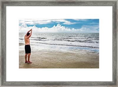Morning Beach Workout Framed Print