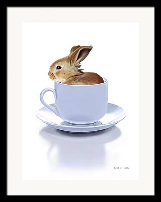 Bunny Coffee Cup Framed Prints