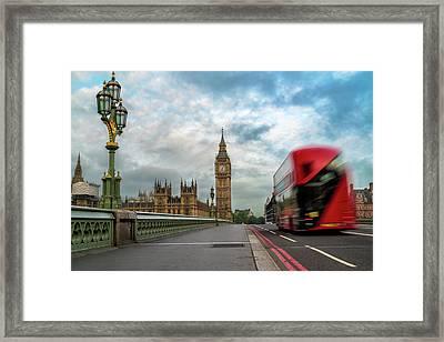 Morning Bus In London Framed Print
