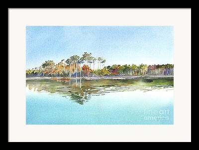 Reflections Of Trees In River Paintings Framed Prints