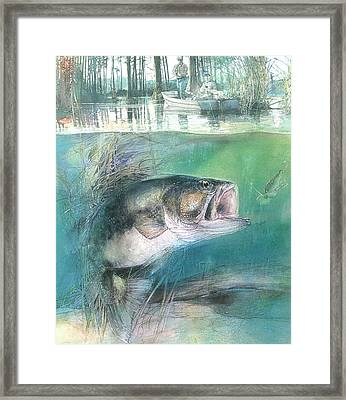 Framed Print featuring the painting Morning Catch by John Dyess