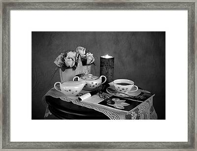 Morning Coffee And Reading Magazine Time Framed Print by Sherry Hallemeier