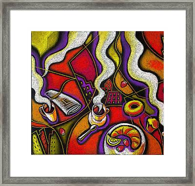 Framed Print featuring the painting Morning Coffee Cup And Muffin  by Leon Zernitsky