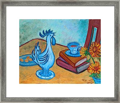 Framed Print featuring the painting Morning Coffee Rooster by Xueling Zou