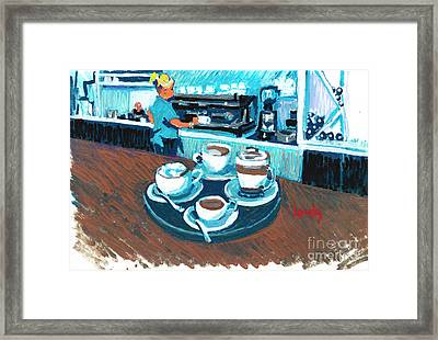 Morning Coffees Framed Print by Candace Lovely