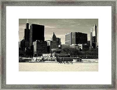 Morning Dog Walk - City Of Chicago Framed Print
