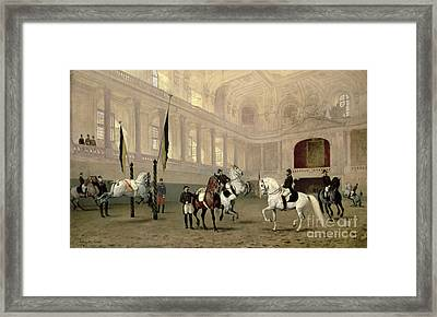 Morning Exercise In The Hofreitschule Framed Print by Julius von Blaas