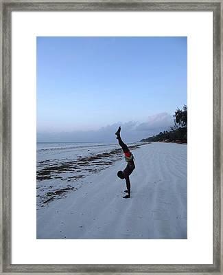 Morning Exercise On The Beach Framed Print
