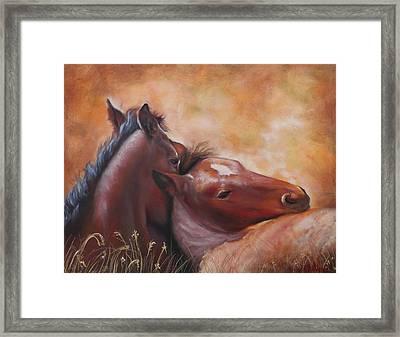 Morning Foals Framed Print by Karen Kennedy Chatham
