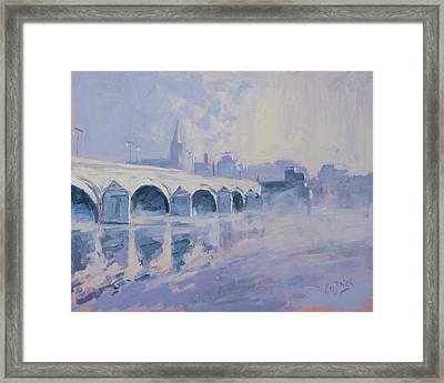 Morning Fog Around The Old Bridge Framed Print