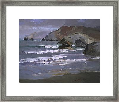 Morning Fog Shark Harbor - Catalina Island Framed Print