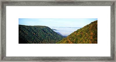 Morning Fog At Sunrise In Autumn Framed Print