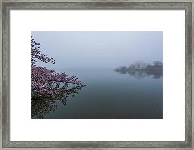 Morning Fog At The Tidal Basin Framed Print