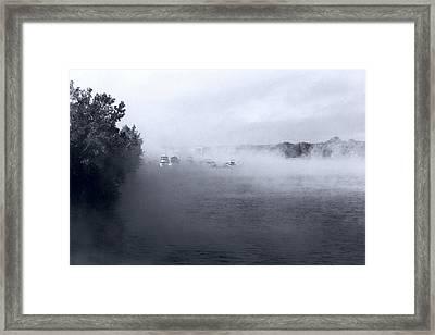 Framed Print featuring the photograph Morning Fog - Hudson River by John Schneider