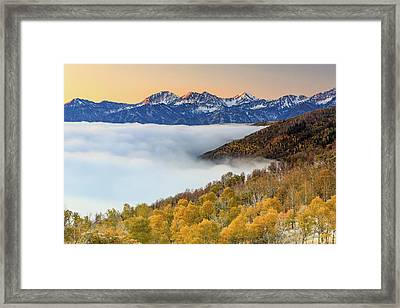 Morning Fog In The Southern Wasatch. Framed Print by Johnny Adolphson
