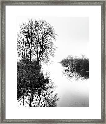 Morning Fog - Inlet, Lake Logan Framed Print