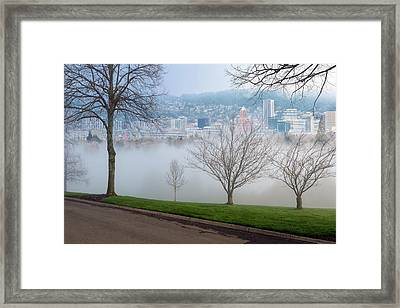 Morning Fog Over City Of Portland Skyline Framed Print by David Gn