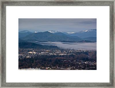 Morning Fog Over Grants Pass Framed Print by Mick Anderson