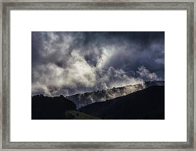 Morning Fog,mist And Cloud On The Moutain By The Sea In Californ Framed Print by Jingjits Photography
