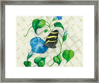 Morning Glories And Butterfly Framed Print by Sally Balfany