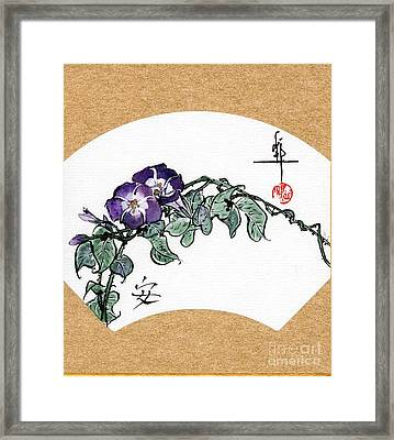Morning Glories Fan Painting Framed Print by Linda Smith
